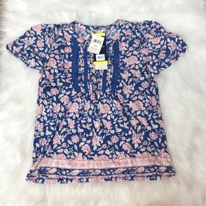 NWT Lucky Brand Peasant Top Blue Floral